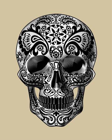 Vintage engraving of Sugar Skull