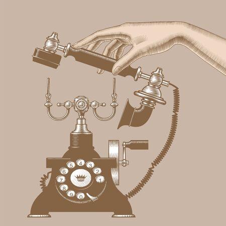 Female hand of man with retro phone Иллюстрация