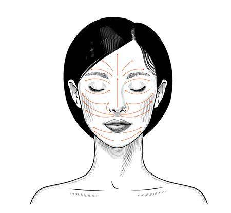 Anleitung zur Gesichtsmassage. Hautpflege östliche Frau. Vintage druckt stilisierte Zeichnung. Vektor-Illustration. Vektorgrafik
