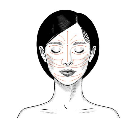 Instructions for facial massage. Skin care Eastern woman. Vintage prints stylized drawing. Vector illustration.