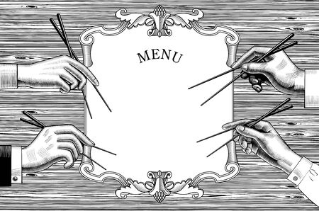 Menu of japan restaurant. Cuisine with seafood. Male and female hands with chopsticks. Asian cuisine. Vintage engraving stylized drawing. Vector illustration