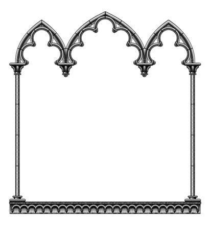 Black gothic decorative frame isolated on white