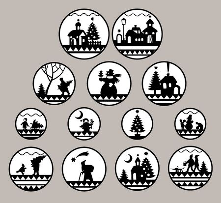 Christmas and New Year round icons set 스톡 콘텐츠 - 135407322