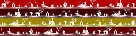 Christmas and New Year striped seamless pattern background with cut silhouette of town and people on dark red and white. Vector illustration