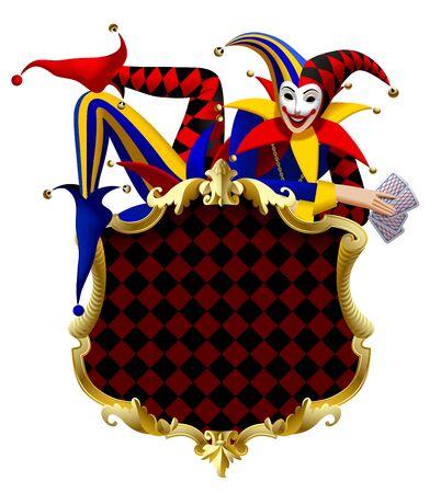 Joker avec des cartes à jouer allongé sur une enseigne avec un cadre classique doré isolé sur blanc. Dessin stylisé en trois dimensions. Illustration vectorielle