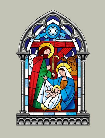 Stained glass window Christmas scene