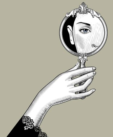 Female hand holding a round decorative mirror with an eye reflection. Vintage engraving stylized drawing. Vector illustration