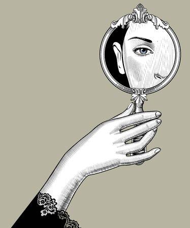 Mano femminile che tiene uno specchio decorativo rotondo con un riflesso dell'occhio. Disegno stilizzato di incisione d'epoca. Illustrazione vettoriale