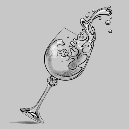 Falling glass with splashed white wine