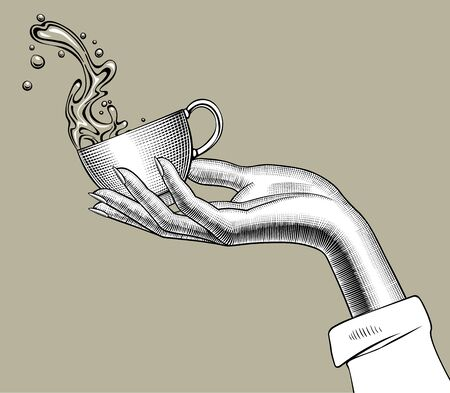 Hand holding a Coffee cup with a splashed water. Vintage stylized drawing. Vector illustration