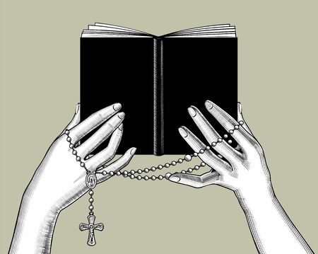 Hands holding a black book and prayer beads with a cross. Vintage engraving stylized drawing. Vector illustration Ilustração