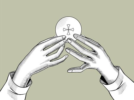 Hands holding the Holy Eucharist with a cross. Vintage engraving stylized drawing. Vector illustration