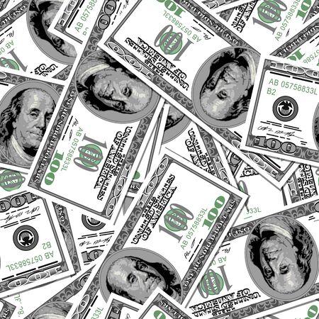 100 dollars bank notes seamless pattern background