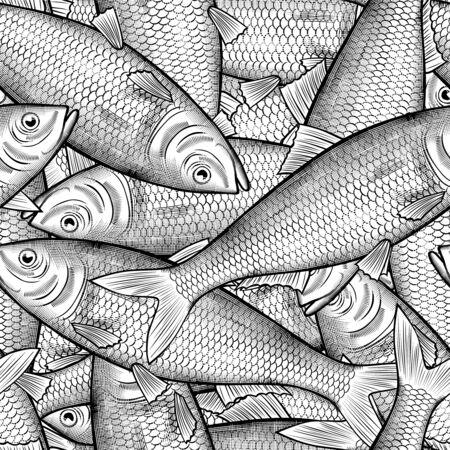 Many herring fish seamless pattern background Çizim