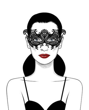 Beautiful girl in carnival mask.