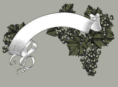 Ribbon banner with bunch of grapes with leaves.