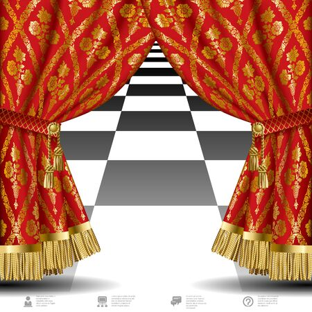 Red drapes with gold vintage ornament on black background. Vector illustration