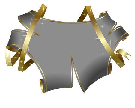 Holiday parchment-shaped banner with silver ribbons in sparkles. Ilustração