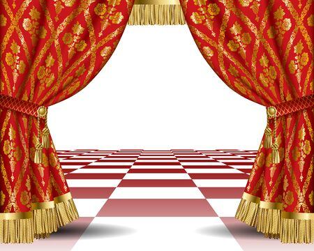 Theatrical template with red vintage ornamental curtains.