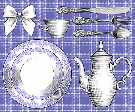 A set of dishes on a tablecloth in a cage. Vintage stylized drawing. Vector illustration