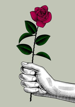 Hand with a red rose. Retro style valentine greeting card design. Vintage engraving stylized drawing. Vector illustration Ilustração