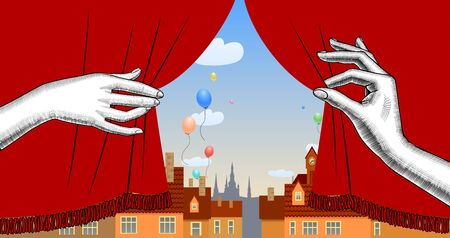 Puppet show booth with theater masks, red curtain, illuminated signboards and city view and colorful balloons in the sky. Artistic and theatrical poster and template design. Vector illustration Ilustracja
