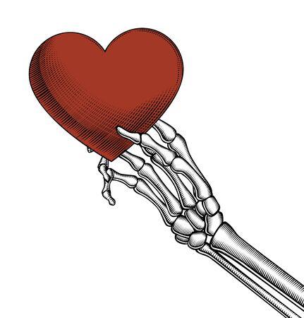 Skeleton hand holding a red heart. Vintage engraving stylized drawing. Vector illustration. Standard-Bild - 140894623