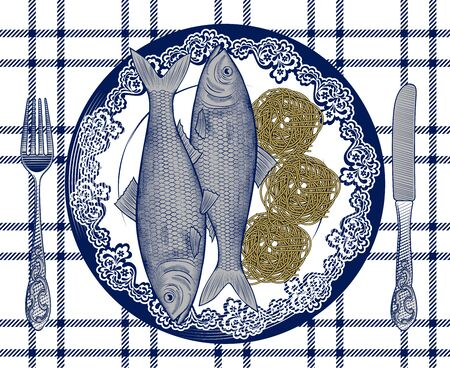 Spaghetti and fish. Poster for Italian restaurant. The theme for the menu. Vintage engraving stylized drawing. Vector illustration