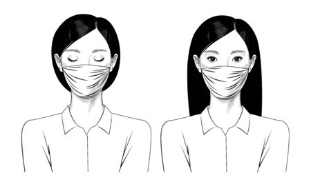 Two girls with surgical masks on their faces. The old engraving is stylized as a drawing. Vector illustration Illustration