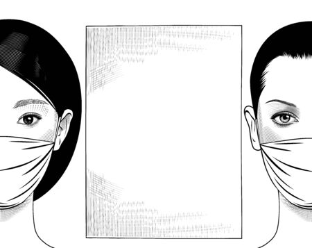 Portraits of two businesswomen with surgical masks on their faces. The old engraving is stylized as a drawing. Vector illustration Illustration