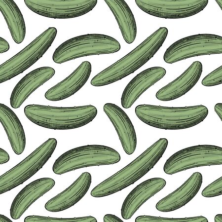 Green cucumbers. Seamless pattern background with green cucumbers. Vintage color engraving stylized drawing. Vector illustration
