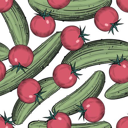 Seamless pattern background cucumbers with red tomatoes. Vintage color engraving stylized drawing. Vector illustration