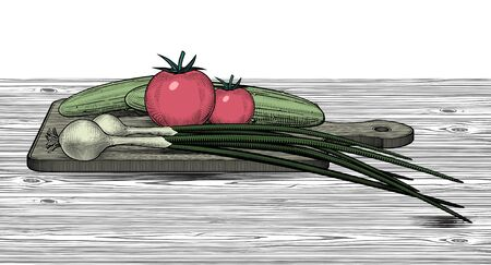 Green cucumber, green onion and red tomato on the wood cutting board. Set of vegetables. Vintage color engraving stylized drawing. Vector illustration