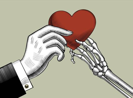 The skeletons hand gives a red heart to the hand. Theme of love and death. Vintage engraving stylized drawing. Vector illustration Standard-Bild - 140896140