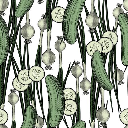 Vegetarian background. Seamless pattern background with green cucumbers and green onions. Vintage color engraving stylized drawing. Vector illustration