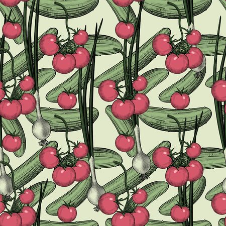 Cherry tomatoes and green onions. Seamless pattern background with red tomatoes and onions. Vintage color engraving stylized drawing. Vector illustration