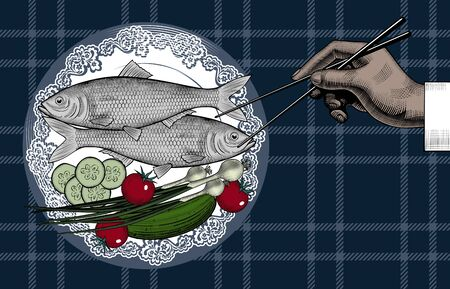 Fish with vegetables. Menu of japan restaurant. Male hand with chopsticks. Asian cuisine. Poster for japan restaurant. The theme for the menu. Vintage engraving stylized drawing. Vector illustration Ilustracja