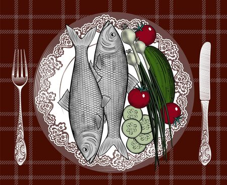 Fish with vegetables. Rainbow trout, salmon. Poster for Italian restaurant. The theme for the menu. Vintage engraving stylized drawing. Vector illustration