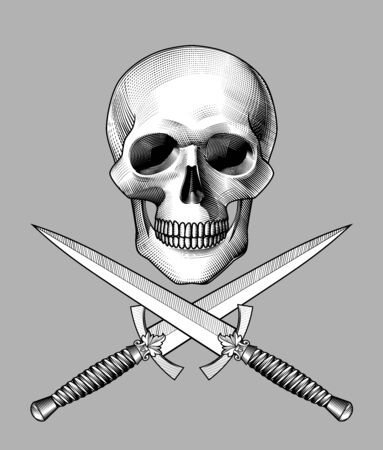 Human skull full face with crossed dagger with a decorative handle and bone. Horror and anatomy retro concept. Vintage engraving stylized drawing. Vector illustration