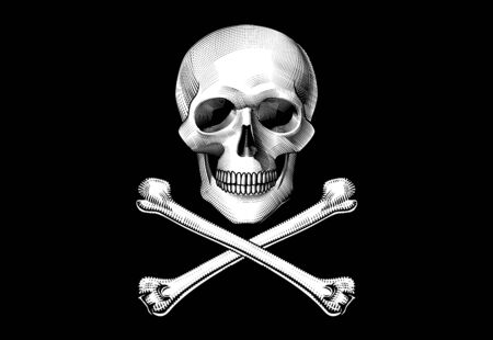Human skull full face with crossed dagger with a decorative handle and bone. Horror and anatomy retro concept. Vintage engraving stylized drawing. Vector illustration Иллюстрация
