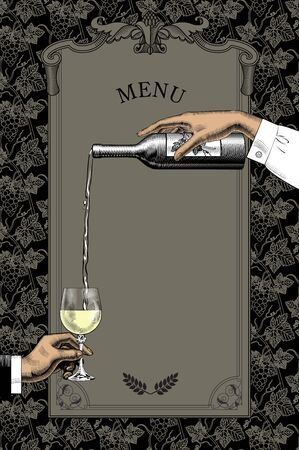 Wine list template layout. Female hand pours wine from a bottle. Wine is poured into a glass. Vintage engraving stylized drawing. Vector illustration