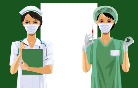 Two nurses in uniform and medical icon set.