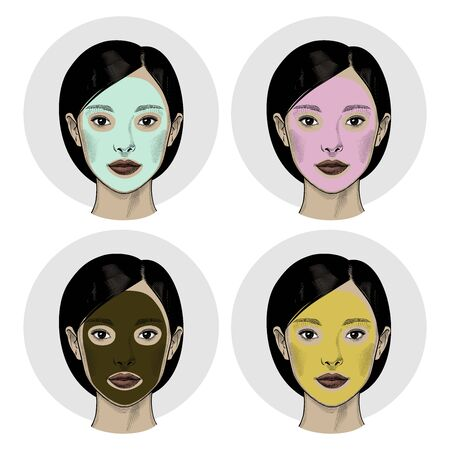 Beautiful Asian woman with a mask on the face. Beautiful woman portrait. Skin Care, spa salon, health and healing concept. Vintage prints stylized drawing. Vector illustration