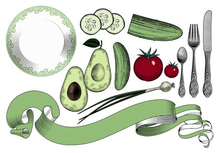 Set of vegetables. Collection of vegetables and dishes on a white background. Green cucumber, green onion, avocado and red tomato. Vintage engraving color stylized drawing. Vector illustration