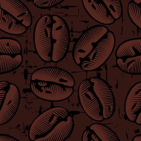 Roasted coffee beans. Coffee decorative seamless pattern. Great for fabric, textiles. Flat style. Antique color engraving of a stylized drawing. Vector illustration.