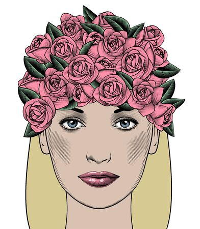 The face of a young woman with roses. 일러스트