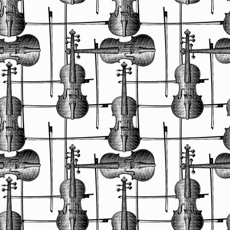 Violin. Musical instruments on a white background. Seamless pattern. Vintage engraving stylized drawing. Vector illustration.
