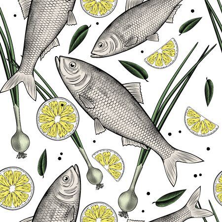 Fresh fish isolated on a white background. Seamless background with a pattern of green onions, lemon and fresh fish. Antique color engraving of a stylized drawing. Vector illustration. Vettoriali