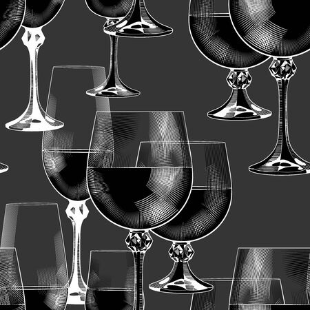 Wine glasses seamless background.