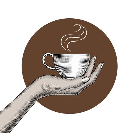 Womans hand holding a Coffee cup. Vintage stylized drawing. Vector illustration